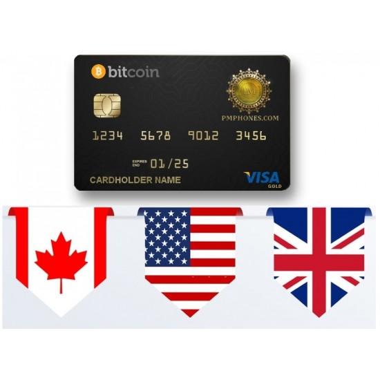 Bitcoin ATM Card  (USA+CANADA) USD By Visa GOLD