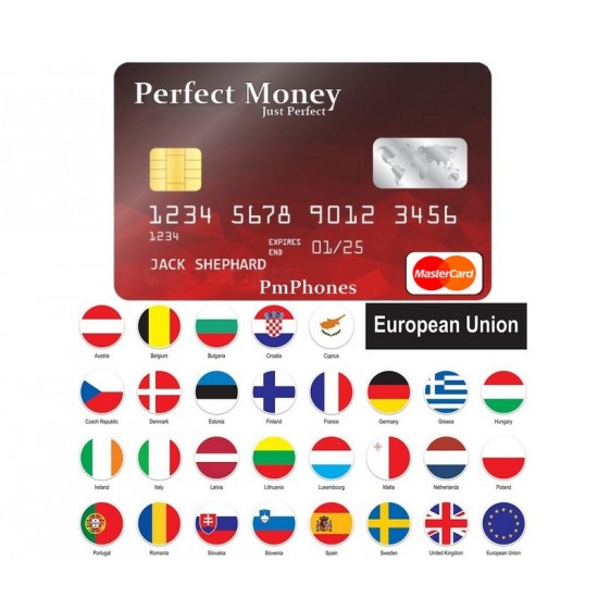 Perfectmoney ATM card (EU) By Mastercard - EURO-USD